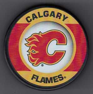 Calgary Flames Retro Hockey Puck