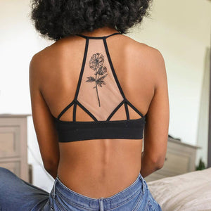 Flower Bloom Tattoo Mesh Bralette - Black