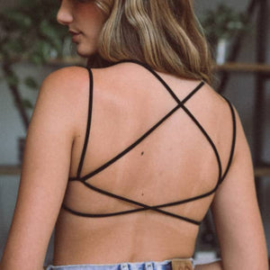 Double Cross Strappy Back Bralette - Black