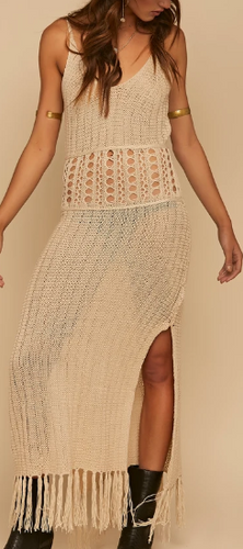 Coyote Cool Beige Crochet Dress