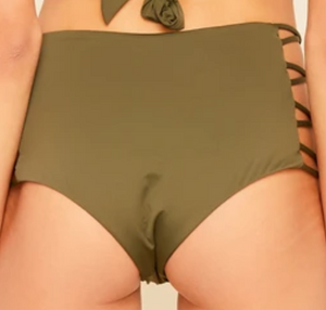 Mid-High Waisted Strappy Bikini Bottom, Olive