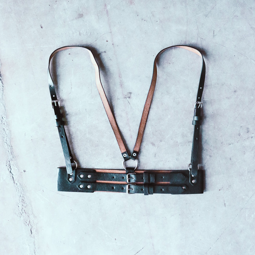 Faux Leather Buckle Harness