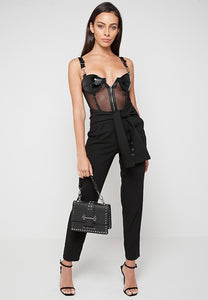 Mesh & Leather Bodysuit