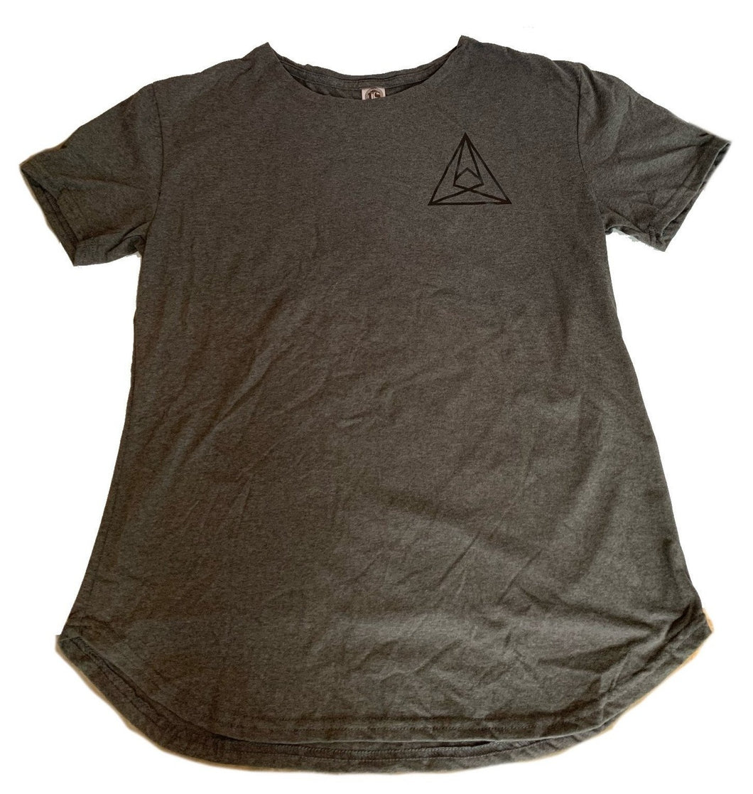 Seismic Scoop Neck, Curved Hem Tee in Athletic Gray w/ Black Triangle Logo (Unisex)