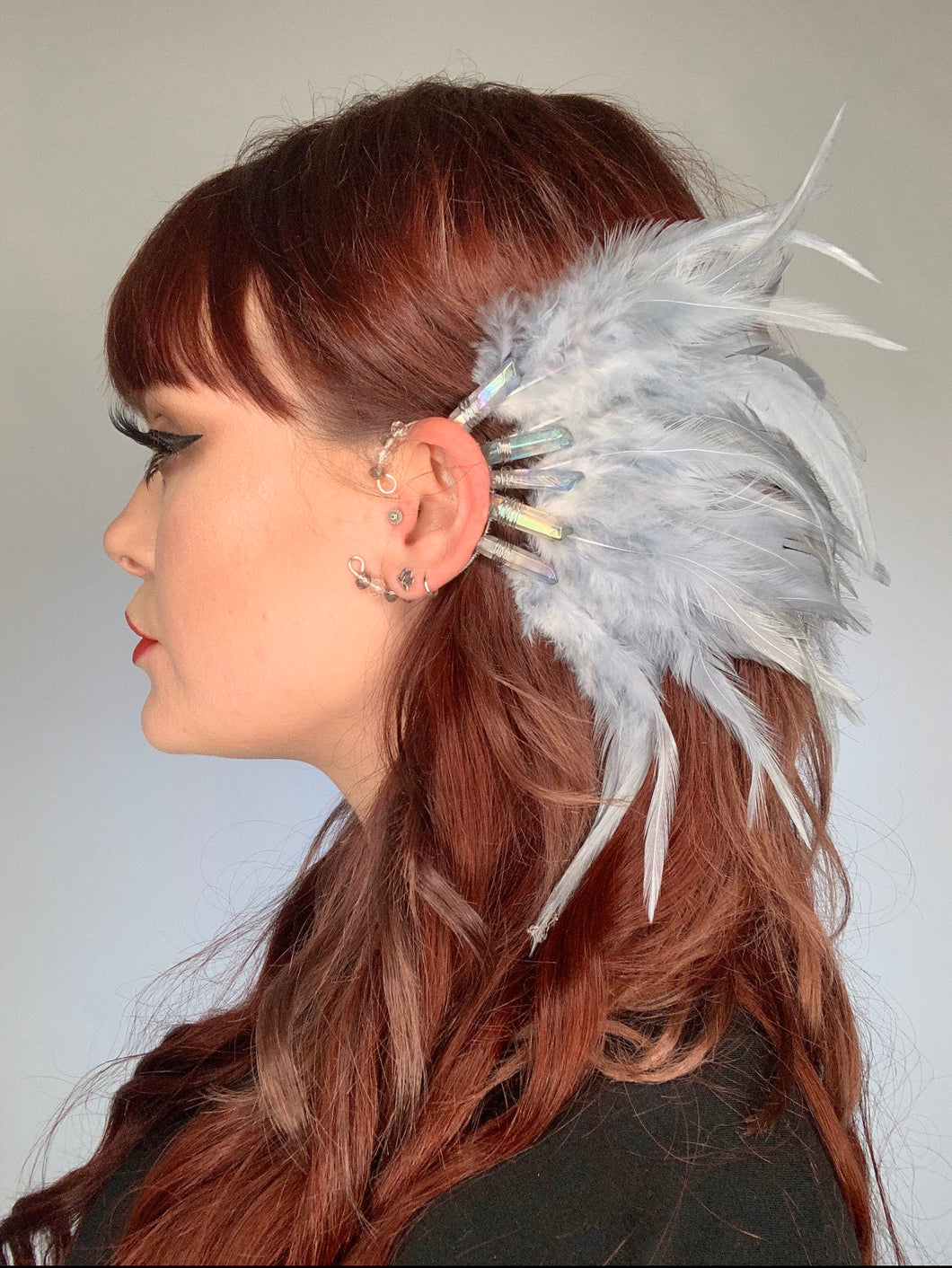 Gray Iridescent Quartz and Feather Ear Cuff