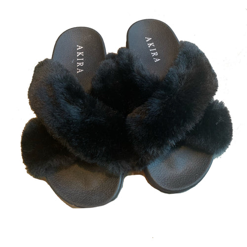 FUR SLIDES BLACK