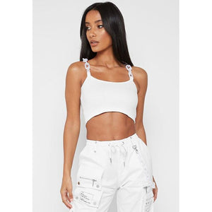 White Crop Chain Top