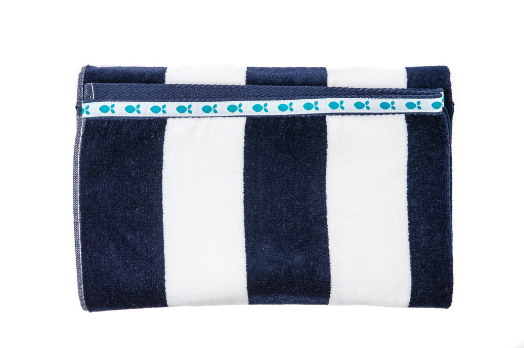 Beach Towels - Navy/White Stripe