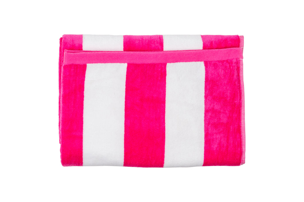 Beach Towels - Hot Pink/White Stripe