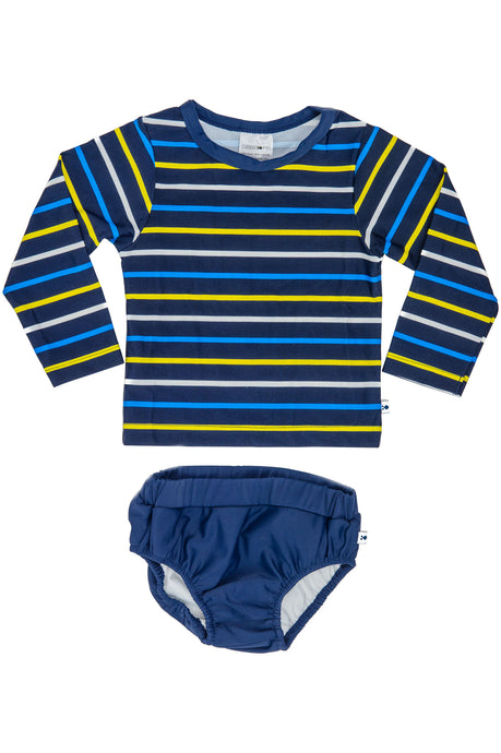 Swimming Nappy Set - Navy & Yellow Stripe