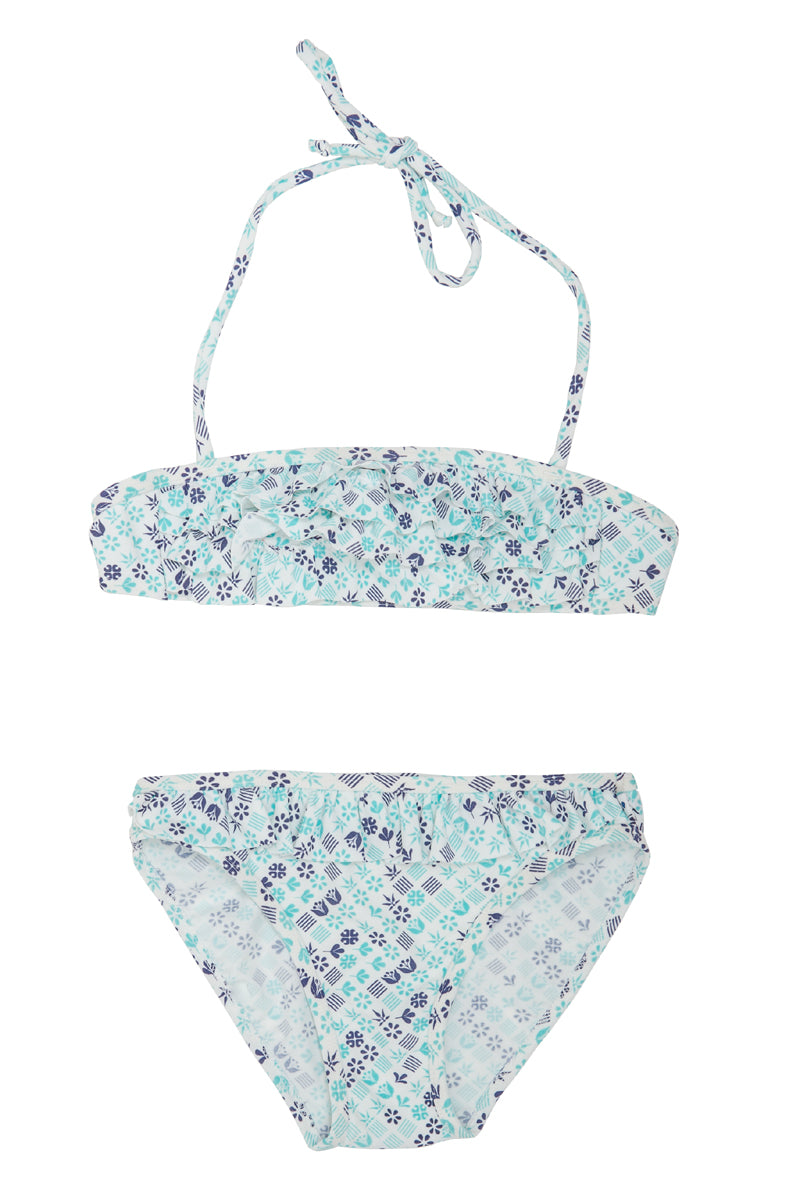 Ruffled Bandeau Bikini - Blue Diamond