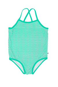 Cross Back One Piece - Green Snowflake