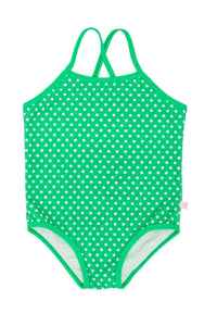 Cross Back One Piece - Green Spot