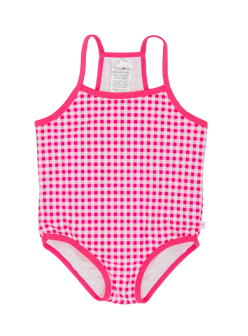 Racer Back One Piece - Pink Gingham