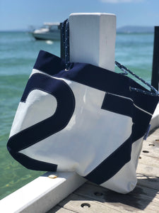 Beach Bag - Neutral / Navy Blue