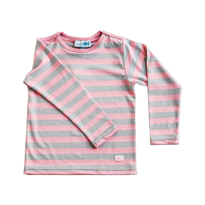 Rash Vest Long Sleeve - Candy Pink & Grey Stripe