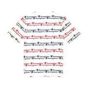 Champion LG Script Stripe T-Shirt White & Red Back