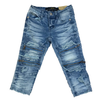 Jordan Craig - Toddlers - Vintage Biker Jeans With Zippers - Arctic Wash