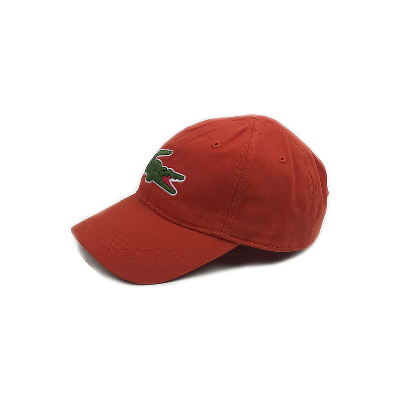Lacoste Big Croc Garbadine Hat Colorado Orange Left