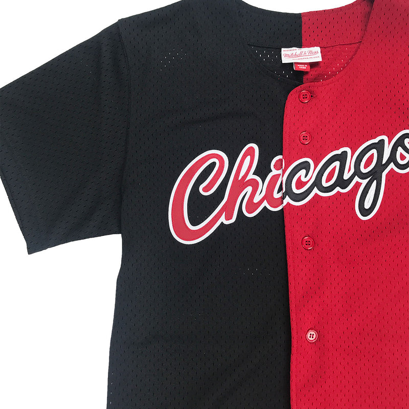 Mitchell & Ness Chicago Bulls Split Color Mesh Button Up Black & Red Neckline