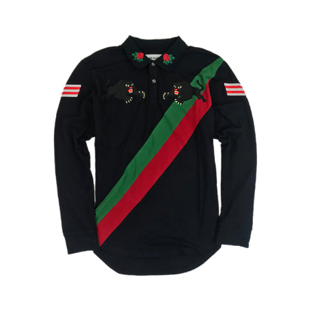 Reason - Mens - Long Sleeved Panther Rugby Shirt - Black