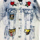 Reason Parkhill Denim Jacket Ice Blue Front Patches