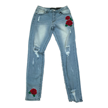 Red Fox - Womens - Distressed Denim Jeans w/ Rose Patches - Medium Blue