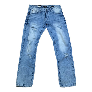 WT02 - Mens - Stretch And Ripped Denim Jeans - Blue