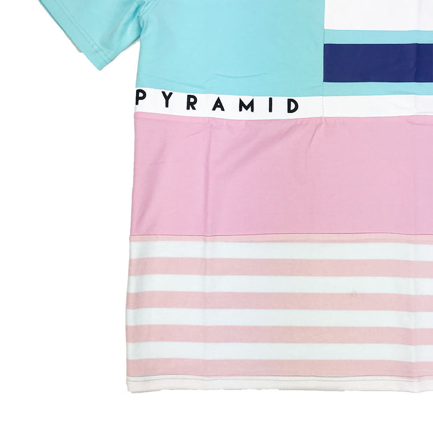 Black Pyramid Logo Striped Color Block Tee - PremierVII