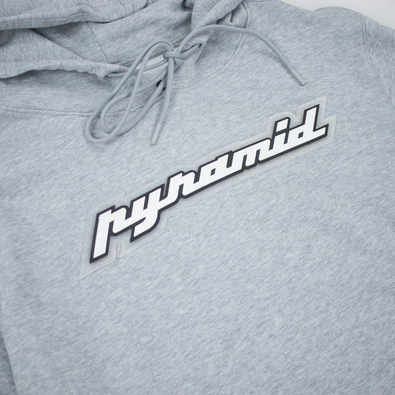 Black Pyramid Men's Core Rubber 3D Patch Hoodie Heather Grey Artwork