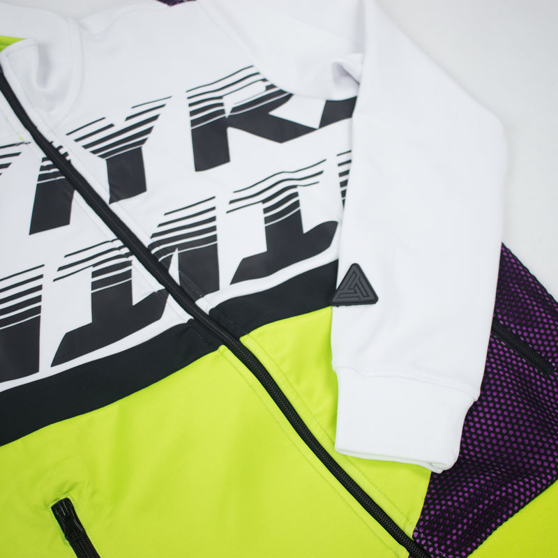 Black Pyramid Women's Raceway Colorblock Track Jacket White Front Artwork