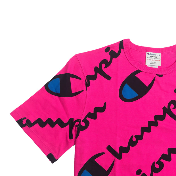 Champion All Over Script T-Shirt Amaranth Upper Right