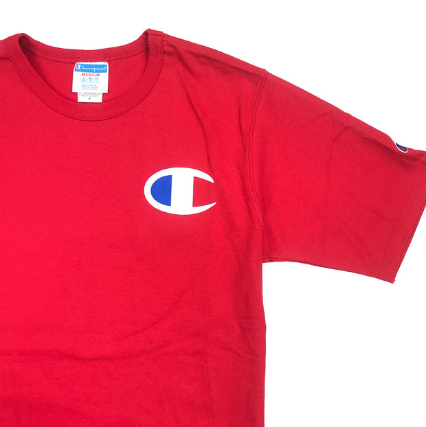 Champion Big C Logo T-Shirt Team Red Scarlet Upper Left