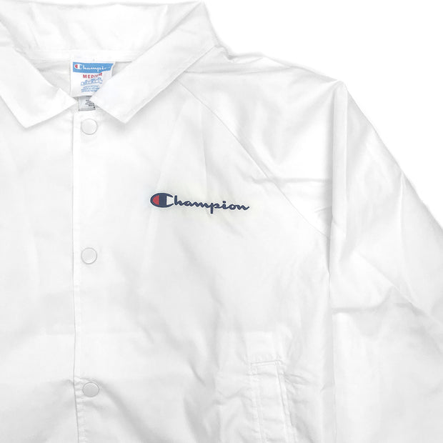 Champion Women's Cropped Coaches Jacket White Champion Patch