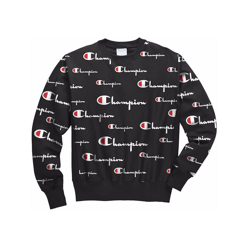 Champion Men's Reverse Weave All Over Print Crewneck Black