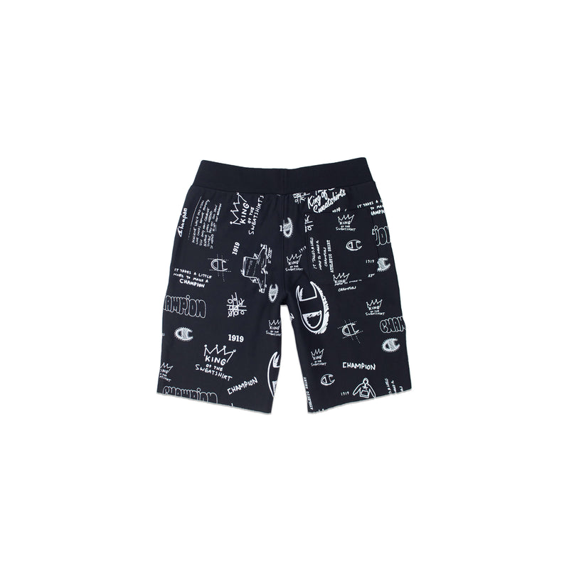 Champion Men's Reverse Weave All Over Print Cut Off Shorts Black Back