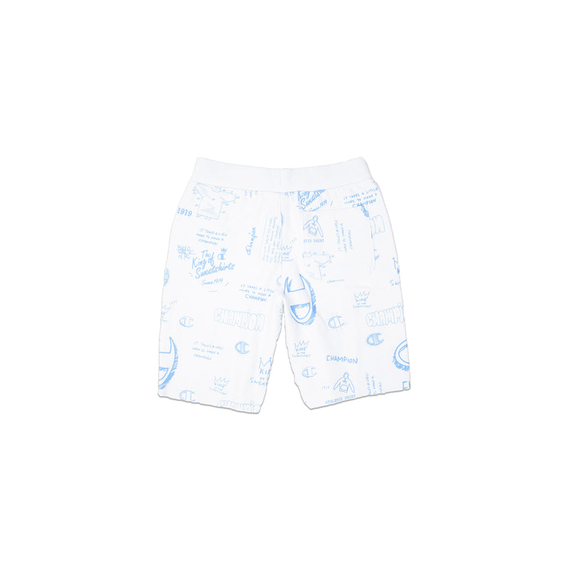 Champion Men's Reverse Weave All Over Print Cut Off Shorts White Back