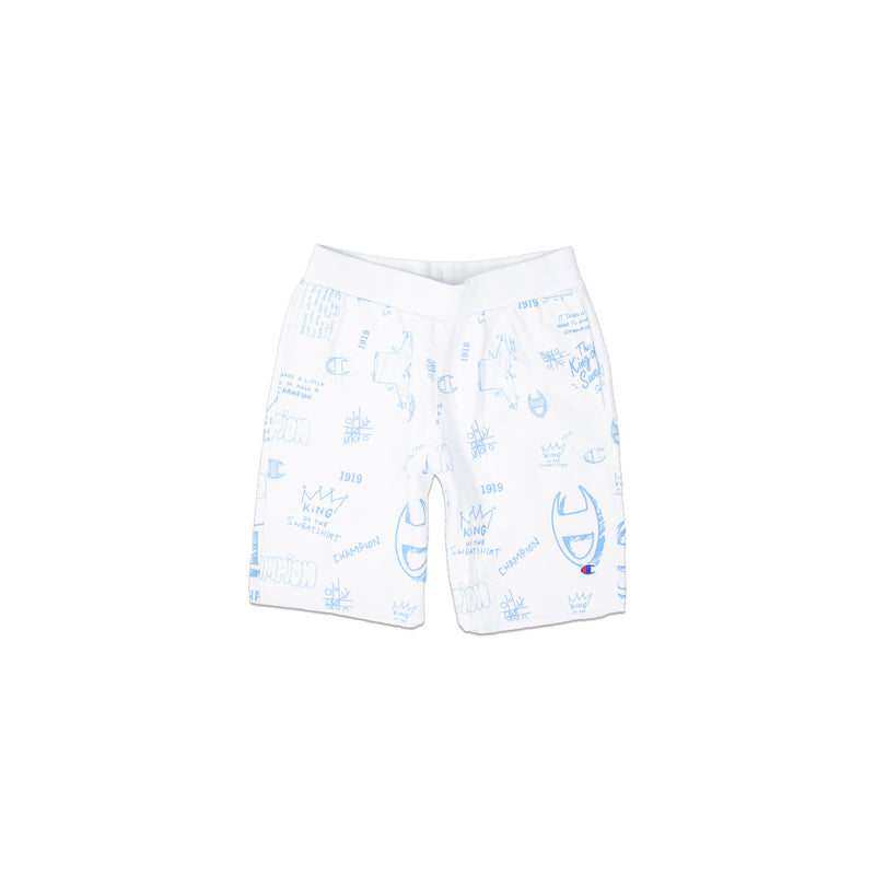 Champion Men's Reverse Weave All Over Print Cut Off Shorts White