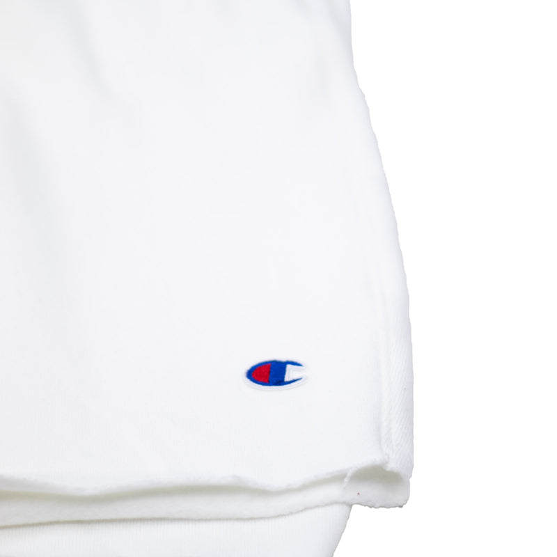Champion Men's Reverse Weave Cut Off Shorts White Logo