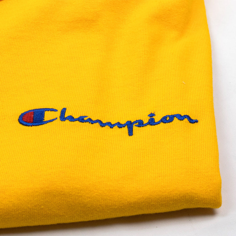 Champion Men's Reverse Weave Script Patch T-Shirt Gold Embroidered Patch