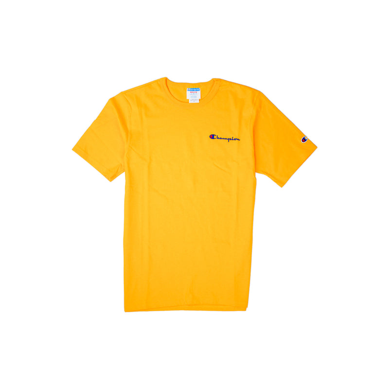 Champion Men's Reverse Weave Script Patch T-Shirt Gold