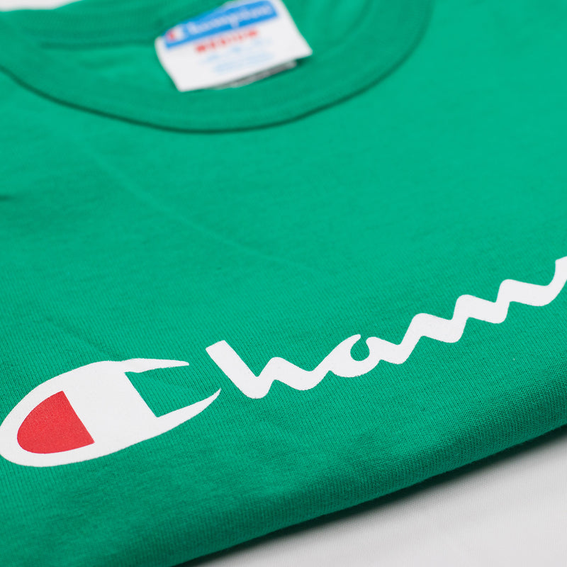 Champion Reverse Weave Script T-Shirt Kelly Green Artwork