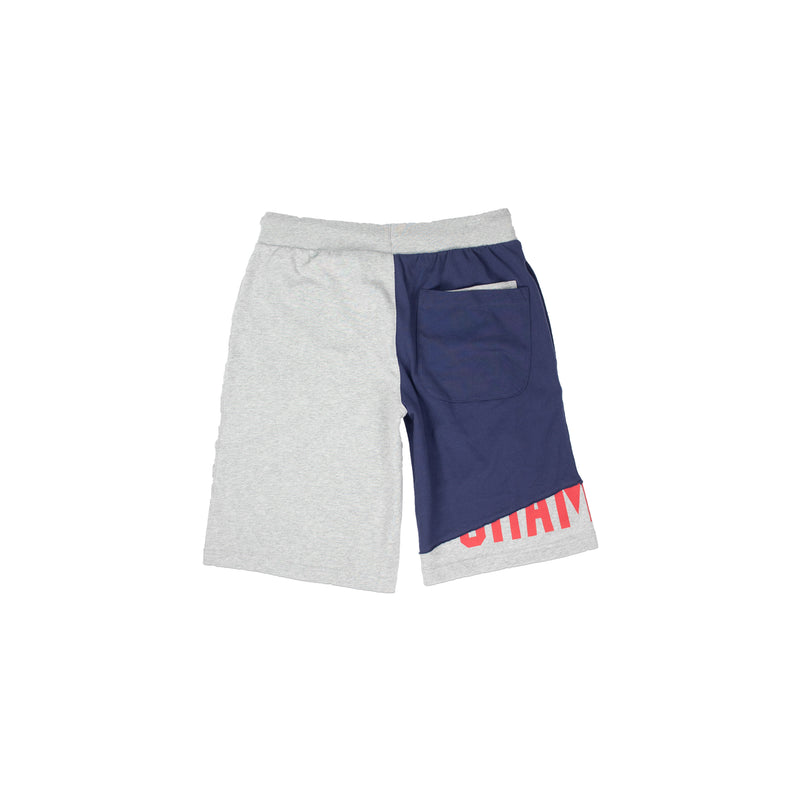 Champion Men's Reverse Weave Shift Shorts Heather Grey & Navy Back