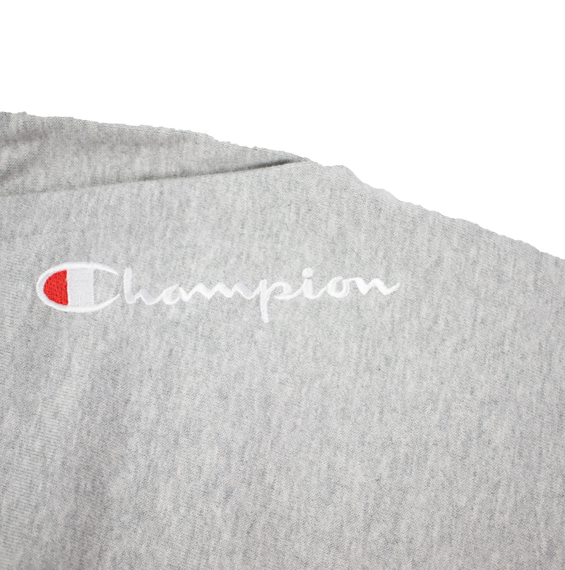 Champion Men's Reverse Weave Shift Shorts Heather Grey & Navy Embroidery