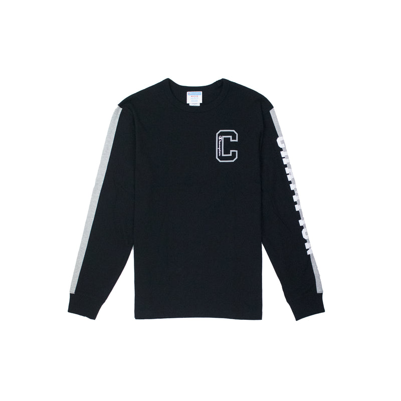 Champion Men's Reverse Weave Vertical Logo Long Sleeved Tee Black