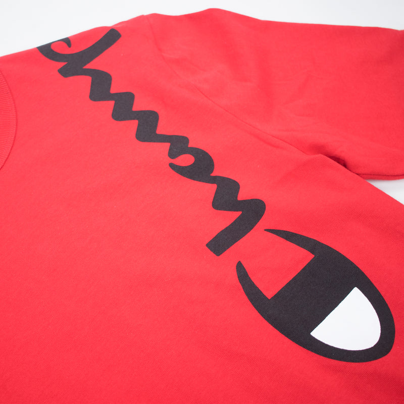 Champion Reverse Weave Wrap Script Long Sleeved Tee Team Red Scarlet Artwork