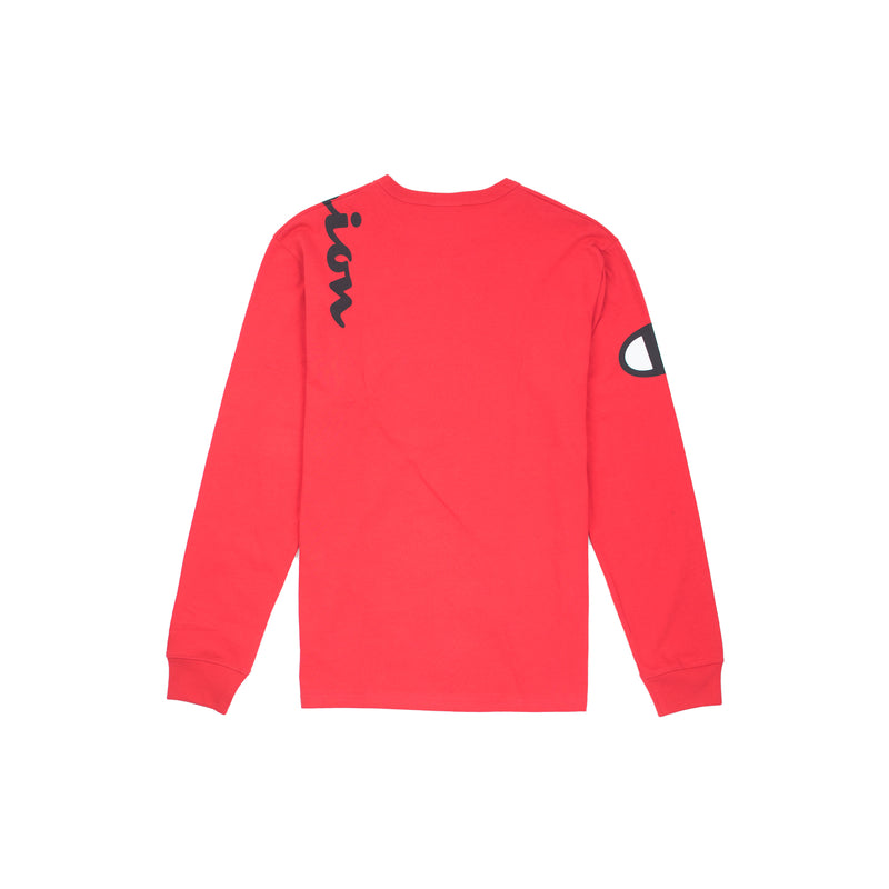 Champion Reverse Weave Wrap Script Long Sleeved Tee Team Red Scarlet Back
