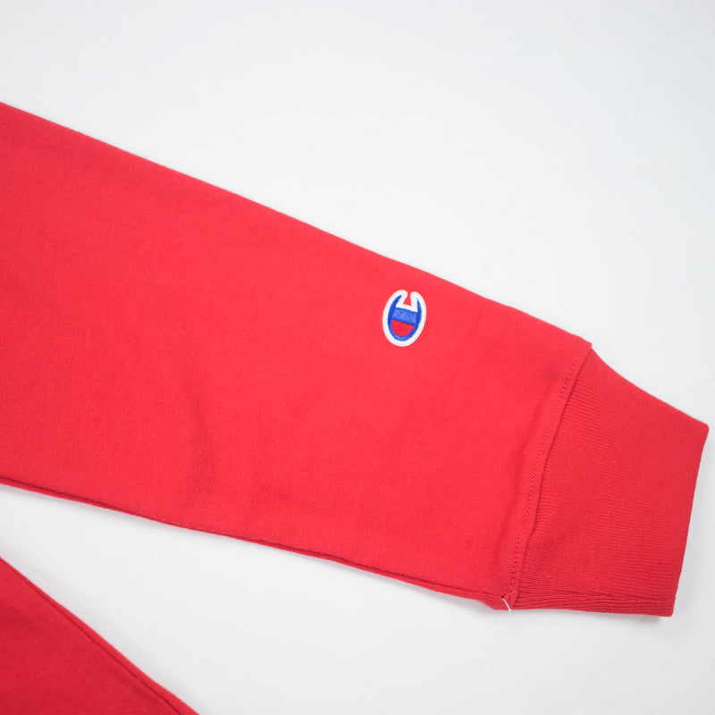 Champion Reverse Weave Wrap Script Long Sleeved Tee Team Red Scarlet Logo