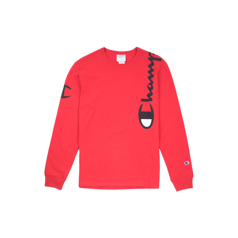 Champion Reverse Weave Wrap Script Long Sleeved Tee Team Red Scarlet
