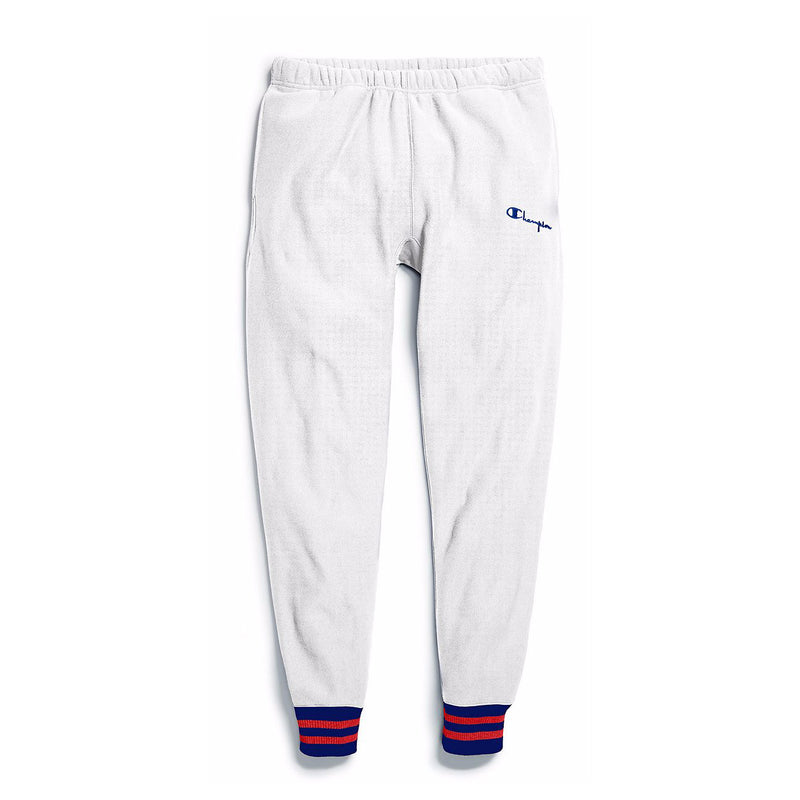 Champion Men's Reverse Weave Yarn Dye Rib Trim Joggers White